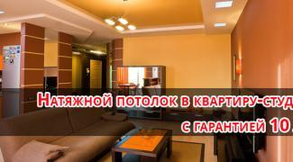 Натяжной потолок в квартиру-студию